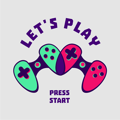 Heart-shaped gamepad couple. Gamer sign. Love video games. Flat style.