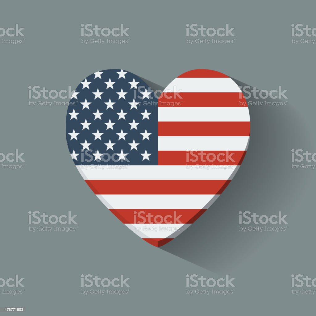 Heart-shaped icon with flag of the USA vector art illustration