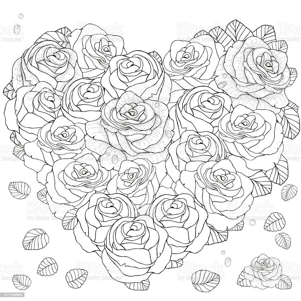 Motivo a forma di cuore per libro da colorare con rose for Colorare le rose