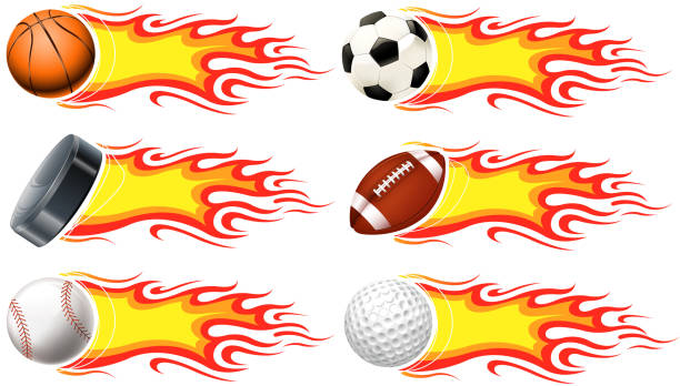 bildbanksillustrationer, clip art samt tecknat material och ikoner med heat ball set - fotboll eld