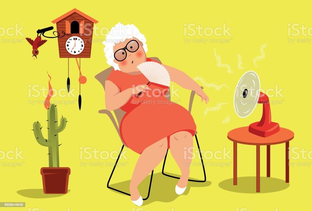 Heat exhaustion danger vector art illustration