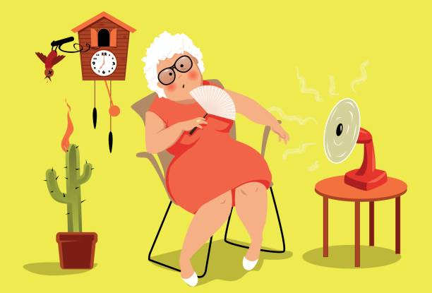 Heat exhaustion danger Mature woman sitting in her house in a very hot summer day, suffering a heat exhaustion,  EPS 8 vector illustration, no transparencies heat wave stock illustrations