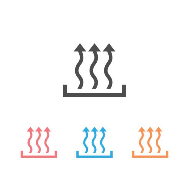 ilustrações de stock, clip art, desenhos animados e ícones de heat icon set three arrow up concept. vector - queimado
