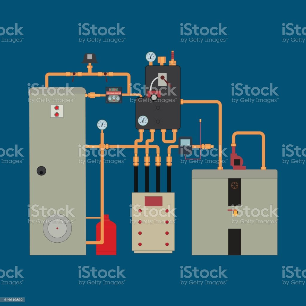Heat Pump Heating System Stock Vector Art & More Images of Automated ...