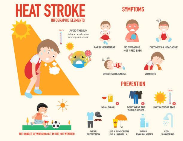stockillustraties, clipart, cartoons en iconen met hitteberoerte risico teken en symptoom en preventie infographic - vermoeidheid