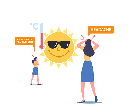 Heat Stroke Symptoms Concept. Female Characters Suffer of Sun and High Temperature with Strong Heartbeat, Red Hot Skin