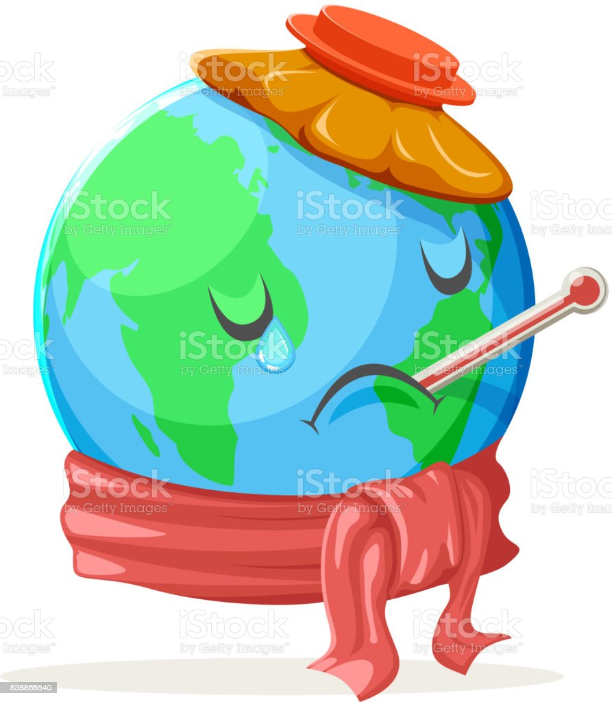Heat Thermometer Ice Bag Ecology Sick Cold Sad Suffer Emotion Nature Earth Globe Character Icon Isolated Vector Illustration vector art illustration