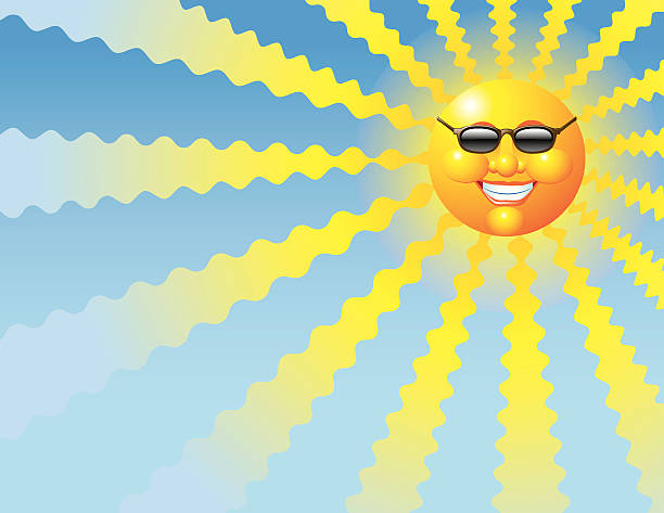 Heat Wave Sun with sunglasses illustration. Sunglasses are grouped and may be easily removed for full face version. Alternative file with warmer background is included. heat wave stock illustrations