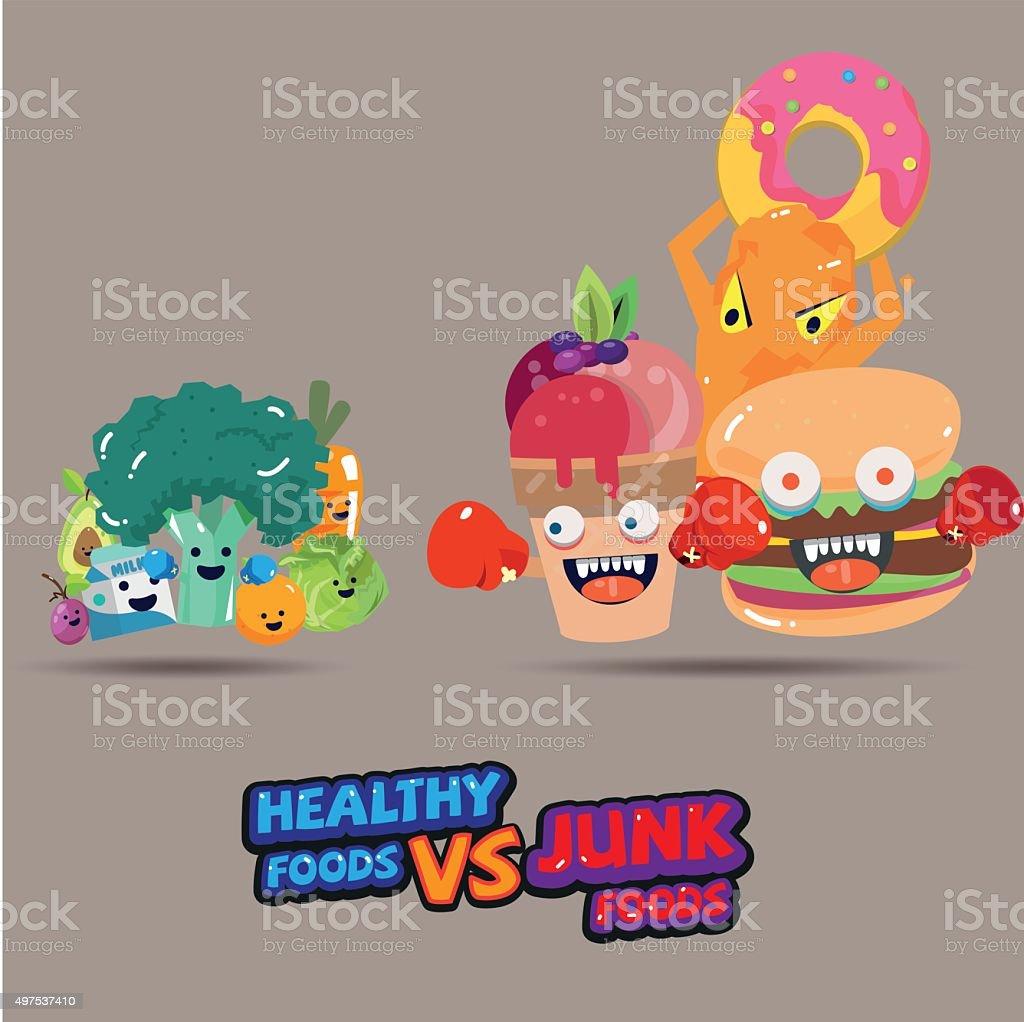 heathy food versus junk food character design stock vector art