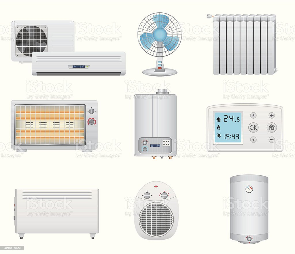 Heating and air conditioning icons vector art illustration