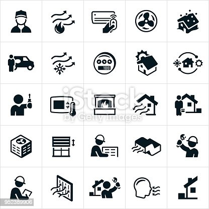 A set of heating, ventilation and air conditioning (HVAC) icons. The icons include air conditioning, heating, HVAC, HVAC technicians, home heating, home air conditioning, repairman, repair, installation, filter and fireplace to name a few.