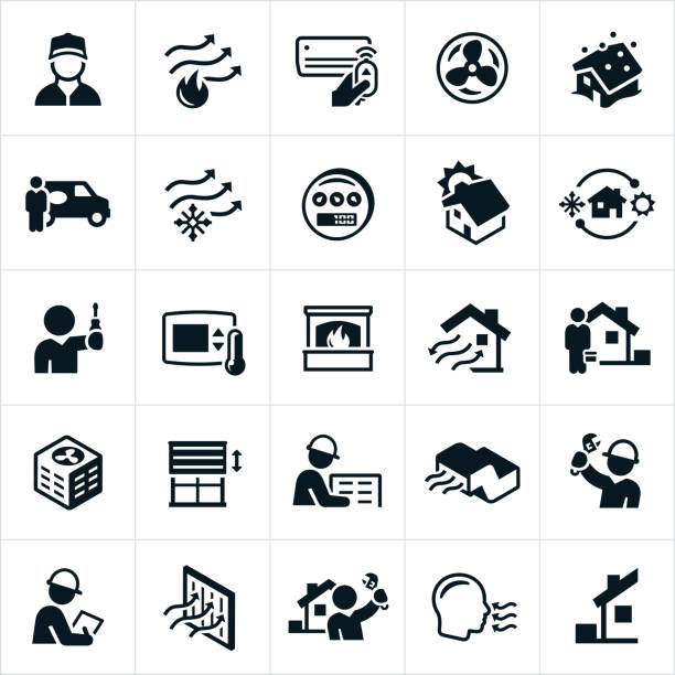 Heating and Air Conditioning Icons A set of heating, ventilation and air conditioning (HVAC) icons. The icons include air conditioning, heating, HVAC, HVAC technicians, home heating, home air conditioning, repairman, repair, installation, filter and fireplace to name a few. air duct stock illustrations