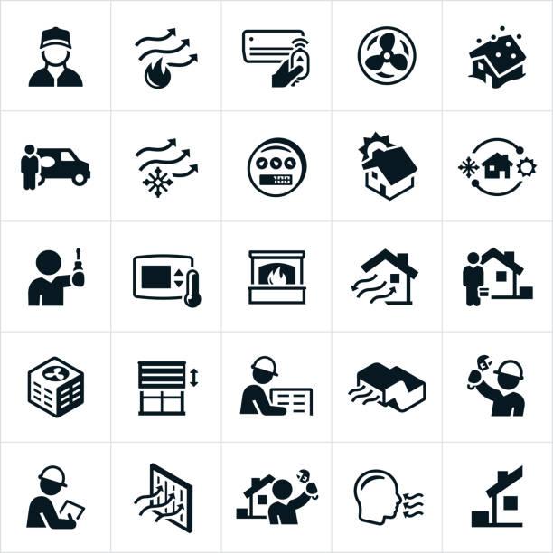 ilustraciones, imágenes clip art, dibujos animados e iconos de stock de calefacción y aire acondicionado los iconos - comfortable