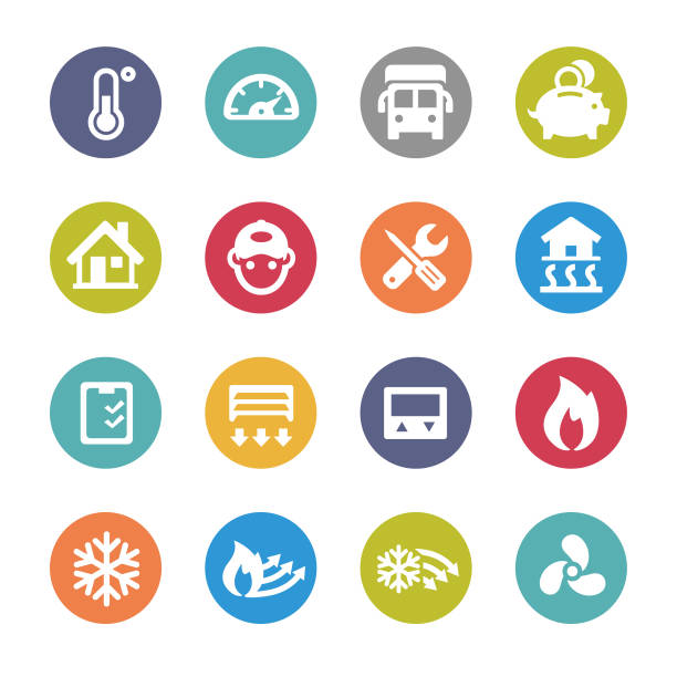 Heating and Cooling Icons - Circle Series View All: heat wave stock illustrations