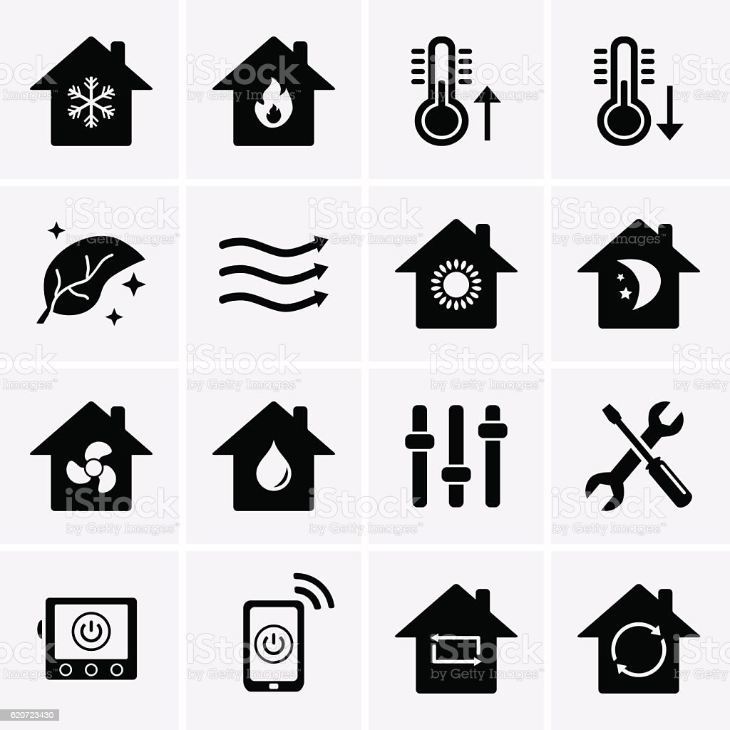 Heating and Cooling Icons. HVAC vector art illustration