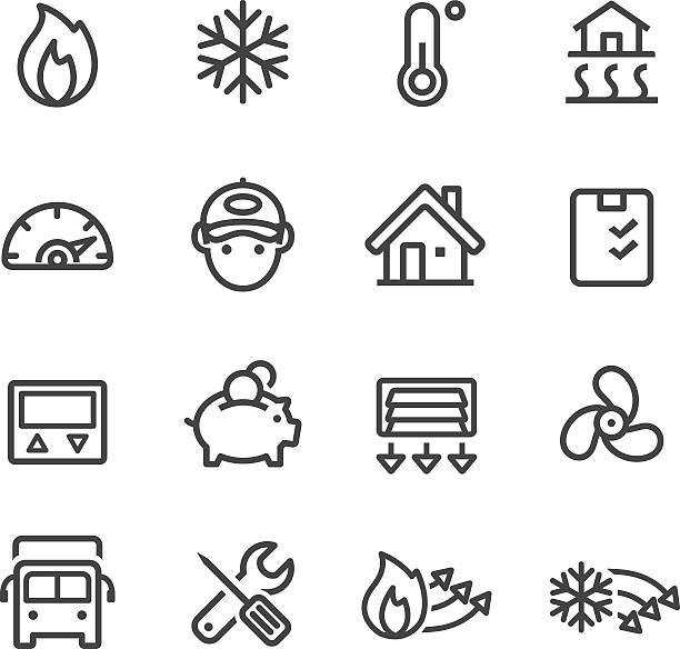 Heating and Cooling Icons - Line Series View All: heat wave stock illustrations