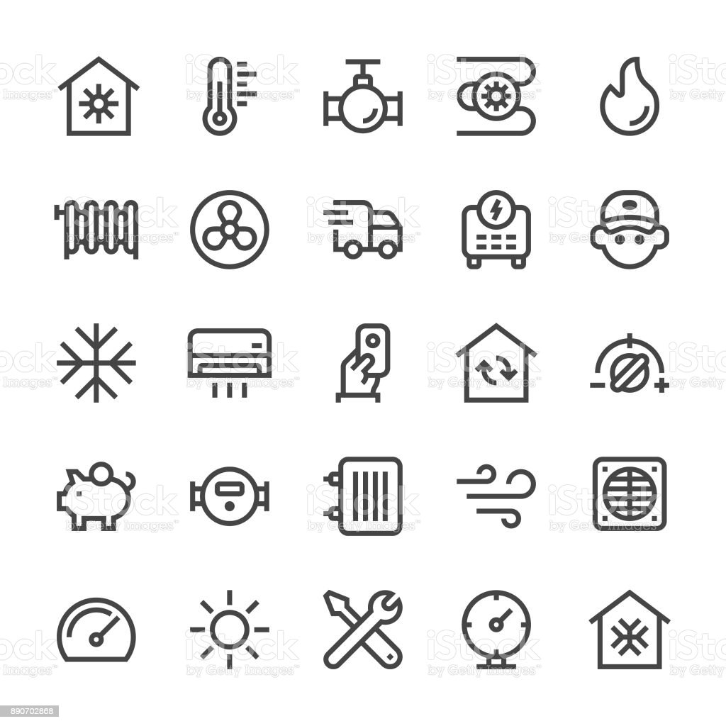 Heating and Cooling Icons - MediumX Line