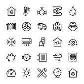 Heating and Cooling Icons - MediumX Line Vector EPS File.