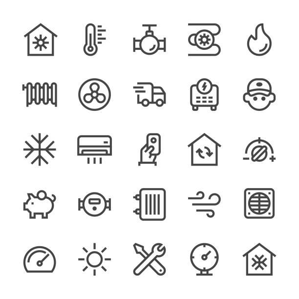 heizen und kühlen ikonen - mediumx linie - wärme stock-grafiken, -clipart, -cartoons und -symbole