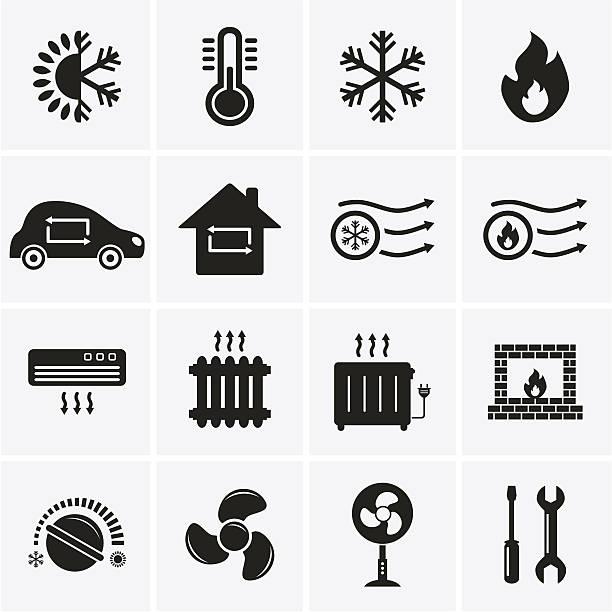 illustrazioni stock, clip art, cartoni animati e icone di tendenza di icone di riscaldamento e raffreddamento - car chill
