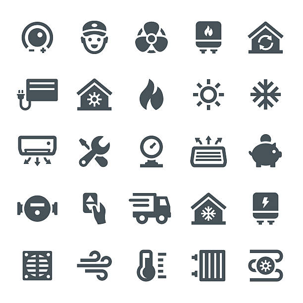 heating and cooling icons - pervane stock illustrations