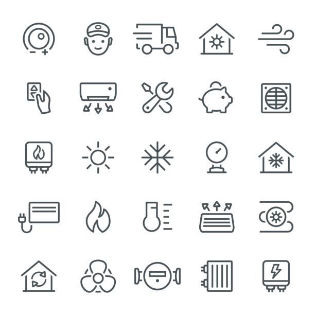 ilustrações, clipart, desenhos animados e ícones de ícones de aquecimento e resfriamento - ar condicionado