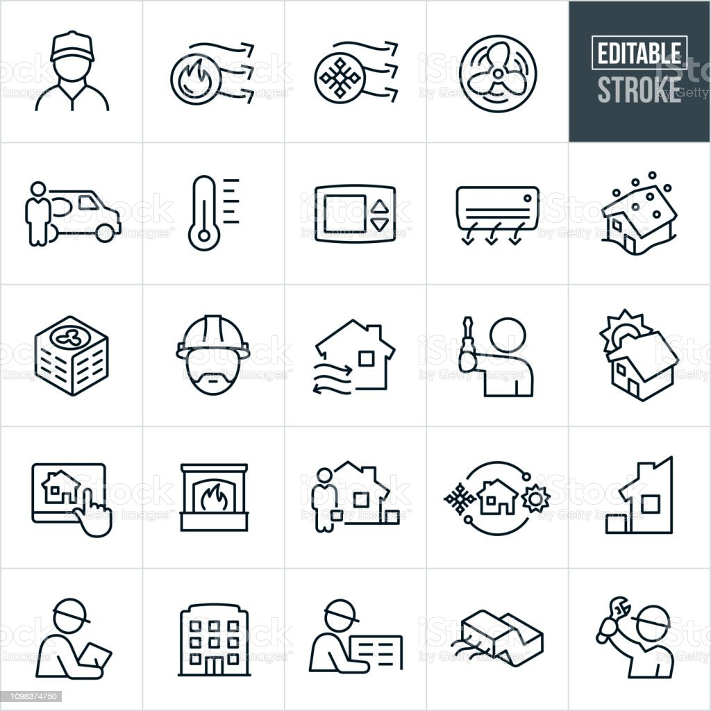 A set of heating and cooling icons that include editable strokes or...