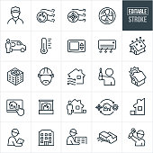 A set of heating and cooling icons that include editable strokes or outlines using the EPS vector file. The icons include HVAC, heating, cooling, air conditioner, blue collar worker, serviceman, thermometer, thermostat, blizzard, technician, hard hat, fireplace, home automation, installation and repair to name a few.