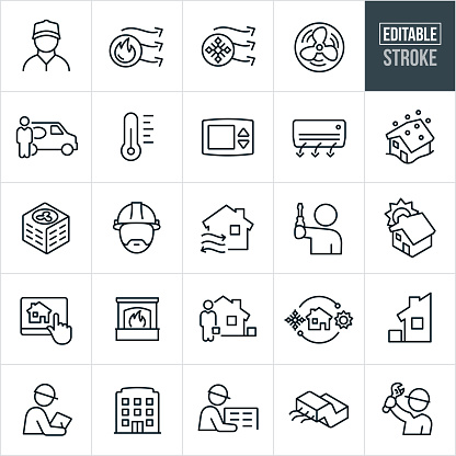 Heating and Cooling Line Icons - Editable Stroke