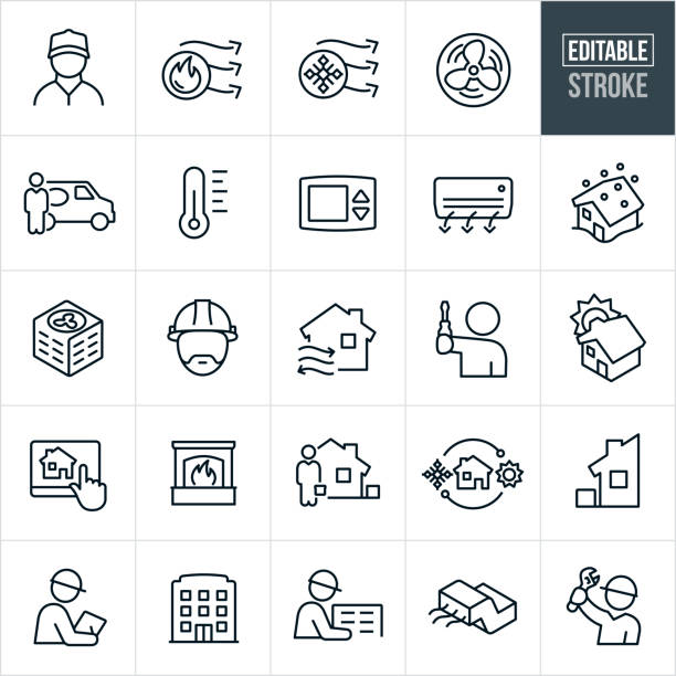 Heating and Cooling Line Icons - Editable Stroke A set of heating and cooling icons that include editable strokes or outlines using the EPS vector file. The icons include HVAC, heating, cooling, air conditioner, blue collar worker, serviceman, thermometer, thermostat, blizzard, technician, hard hat, fireplace, home automation, installation and repair to name a few. air duct stock illustrations