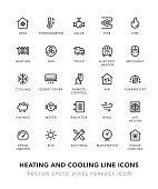 Heating and Cooling Line Icons Vector EPS 10 File, Pixel Perfect Icons.