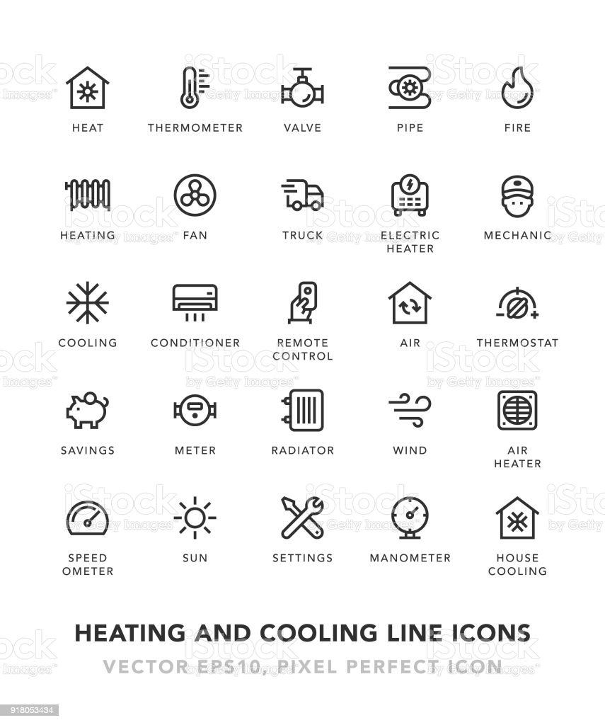 Heating and Cooling Line Icons vector art illustration