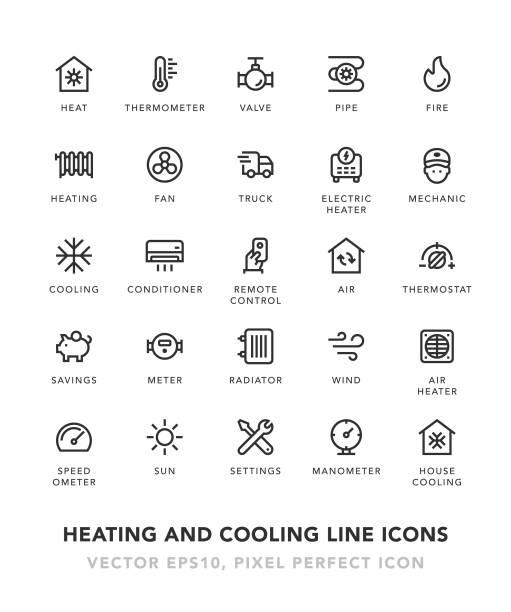 illustrations, cliparts, dessins animés et icônes de chauffage et refroidissement des icônes de la ligne - chaleur