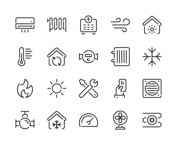 ilustrações, clipart, desenhos animados e ícones de aquecimento e arrefecimento linha ícones - ar condicionado