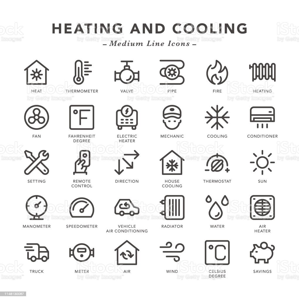 Heating and Cooling - Medium Line Icons - Vector EPS 10 File, Pixel...