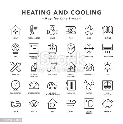 Heating and Cooling - Regular Line Icons - Vector EPS 10 File, Pixel Perfect 30 Icons