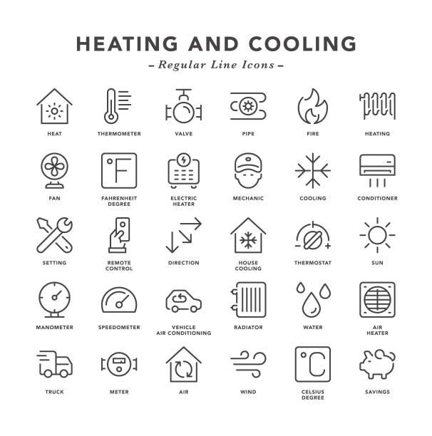 heizen und kühlen - linienbus-symbole - wärme stock-grafiken, -clipart, -cartoons und -symbole