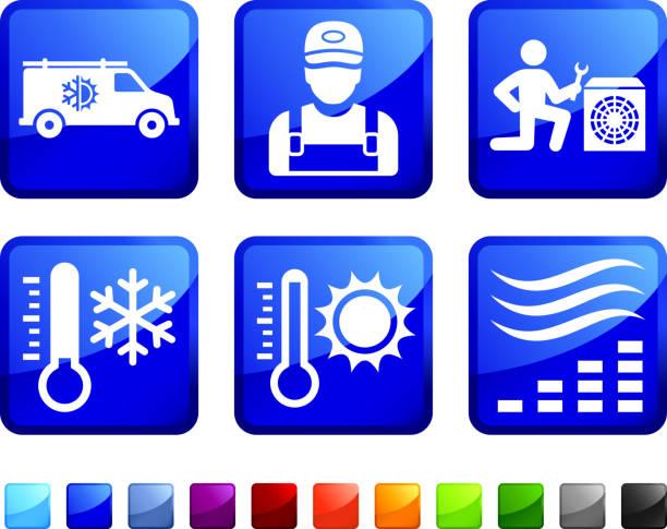 ilustrações de stock, clip art, desenhos animados e ícones de aquecimento e arrefecimento sistema de reparação de ícone vector conjunto de autocolantes - exhaust white background