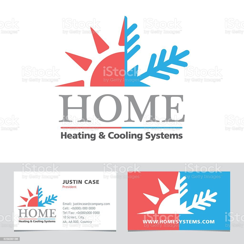 Heating cooling systems business icon business card vector heating cooling systems business icon business card vector template royalty free heating reheart Gallery