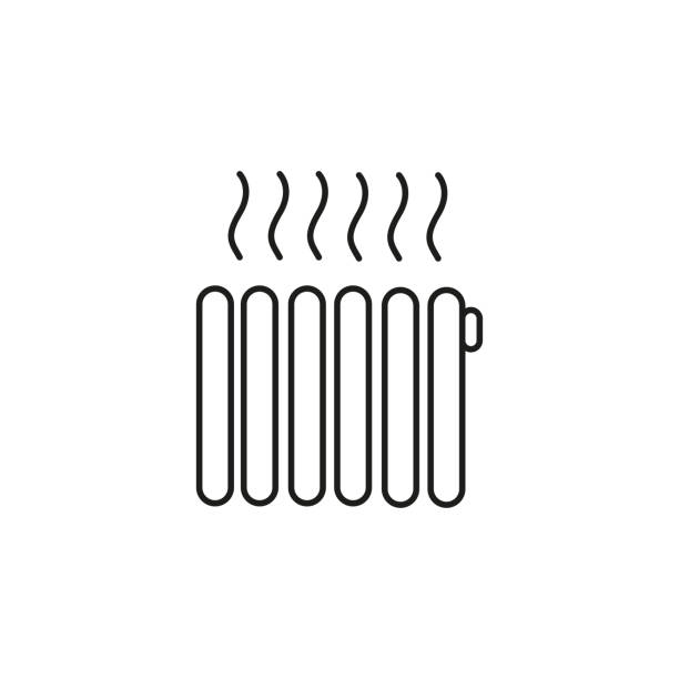 heating icon vector art illustration