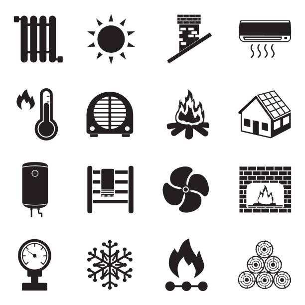 heizung-symbole. schwarze flache bauweise. vektor-illustration. - kamin stock-grafiken, -clipart, -cartoons und -symbole