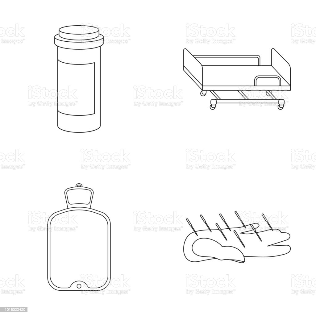Heating pad, hospital gurney, acupuncture.Mtdicine set collection icons in outline style vector symbol stock illustration web. vector art illustration