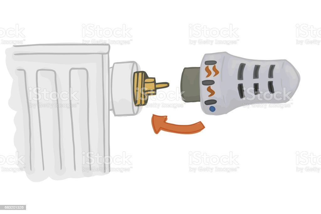 Heating Radiator with thermostatic head. Heating system for temperature control. Economy energy. royalty-free heating radiator with thermostatic head heating system for temperature control economy energy stock vector art & more images of belarus