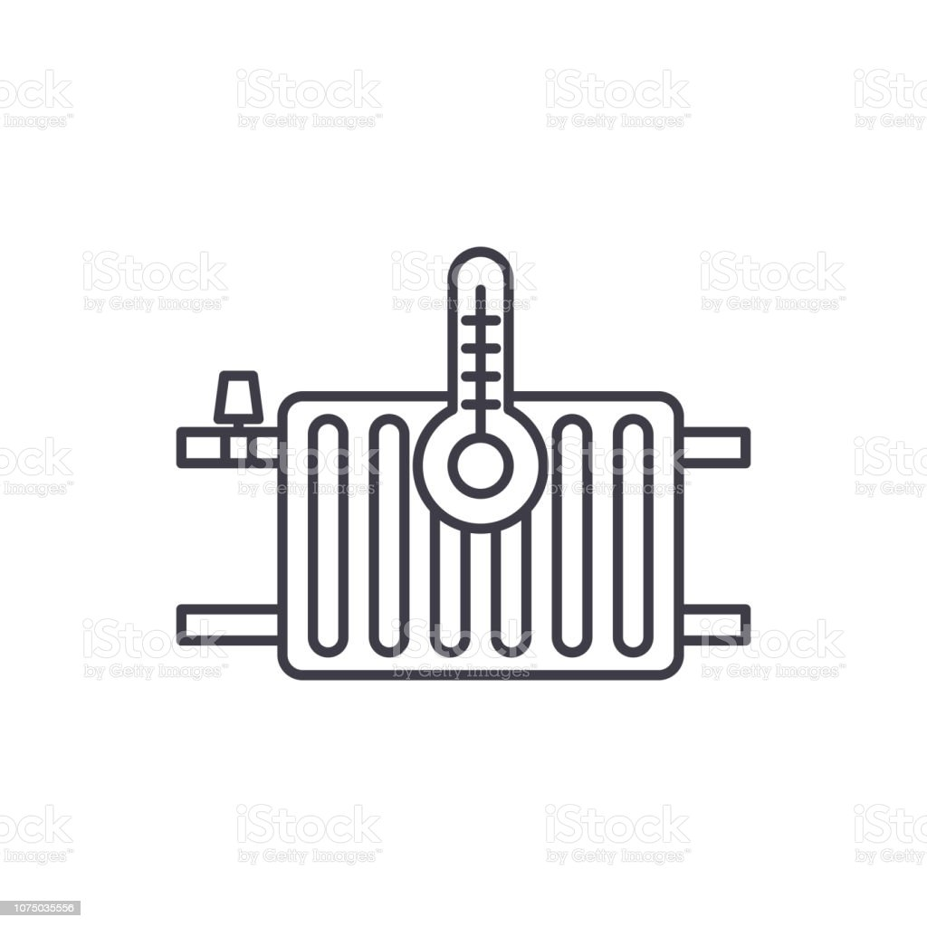 Heating Radiators Line Icon Concept Heating Radiators