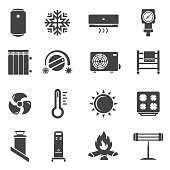 Heating system black glyph vector icons set. Air conditioner, boiler, radiator. Home infrared heater, thermometer, climate control silhouette illustrations collection isolated on white background