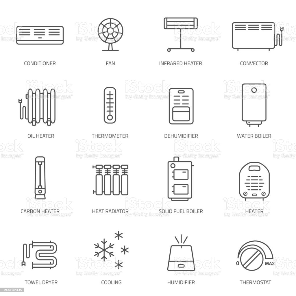 Heating, ventilation and conditioning icons set. vector art illustration