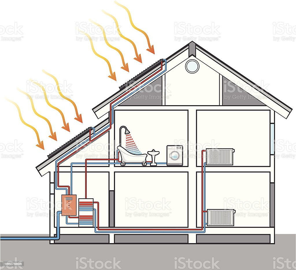 Heating water with solar panels vector art illustration