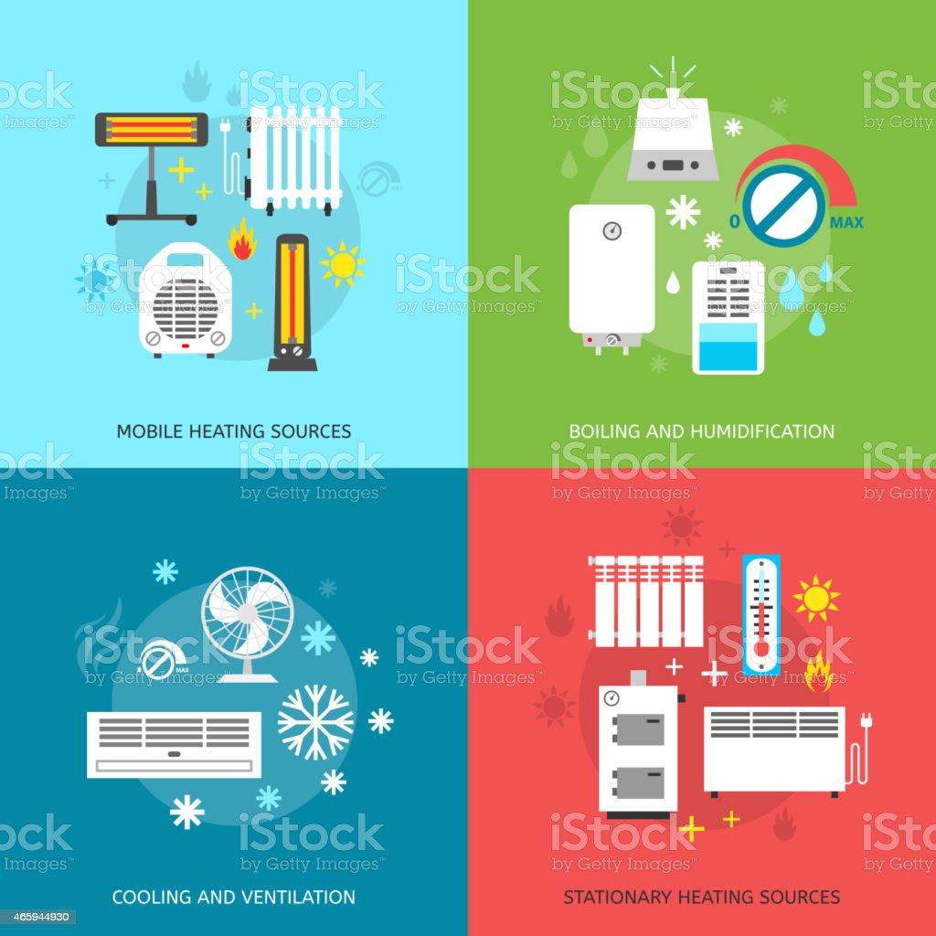 Heatingand conditioning icons set. vector art illustration