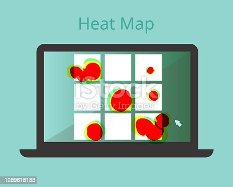 istock heatmap webpage shows user behavior on each banner vector 1289618183