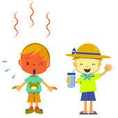 heatstroke illustration, heatwave